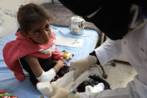 UOSSM provides Rafif with medical care after fall.